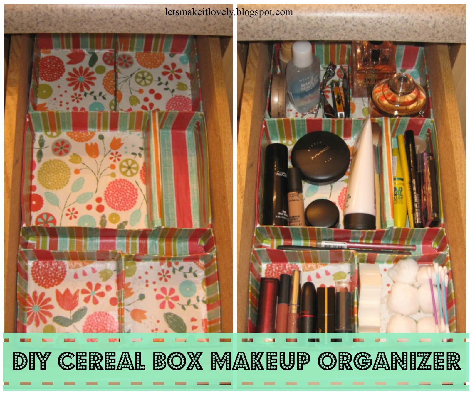 DIY Customized Makeup Drawer Organizer from Cereal Boxes