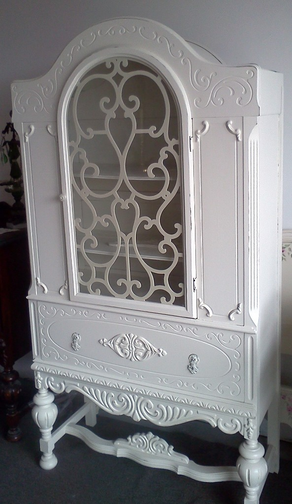 Antique Heavily Carved China Cabinet painted an off white with light  distressing. 2 shelves and large drawer below. Original hardware has been  painted and ... - Handpainted Furniture New Arrivals, Shabby Chic Vintage Painted