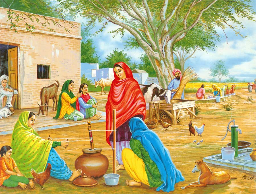 Village Life Paintings Easy Foundation Dezin &...
