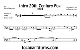 Partitura de la Sintonía de la 20th Century Fox para Trombón Tuba y Bombardino en Clave de FA by Alfred Newman Sheet Music for Trombone, Tube, Bombardino Music Scores