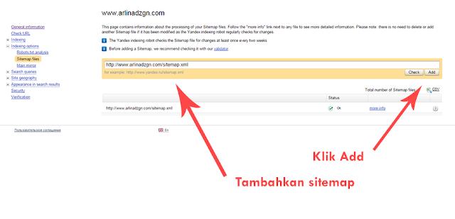 Tambahkan sitemap di Webmaster Yandex Blog