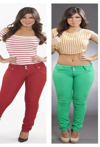 Bebe Maldonado modela dos estilos de mahones en rojo y verde