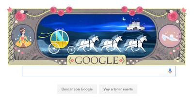 Google rinde homenaje a Charles Perrault, creador de 'La Cenicienta', 'La Bella Durmiente' y 'El Gato con Botas'. Doodle de La Cenicienta. LIBROS. Ver. Oír. Contar.