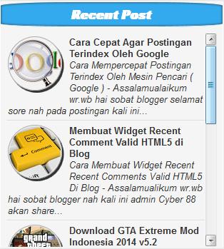 Cara Membuat Widget Recent Post Dengan Thumbnail di Blog