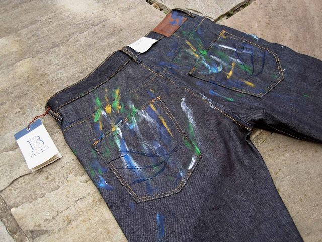 jeans for genes day, bucks and co jeans for genes, bucks and co denim, bucks and co denim auction charity, raw japanese denim, customised denim, acrylic paint denim