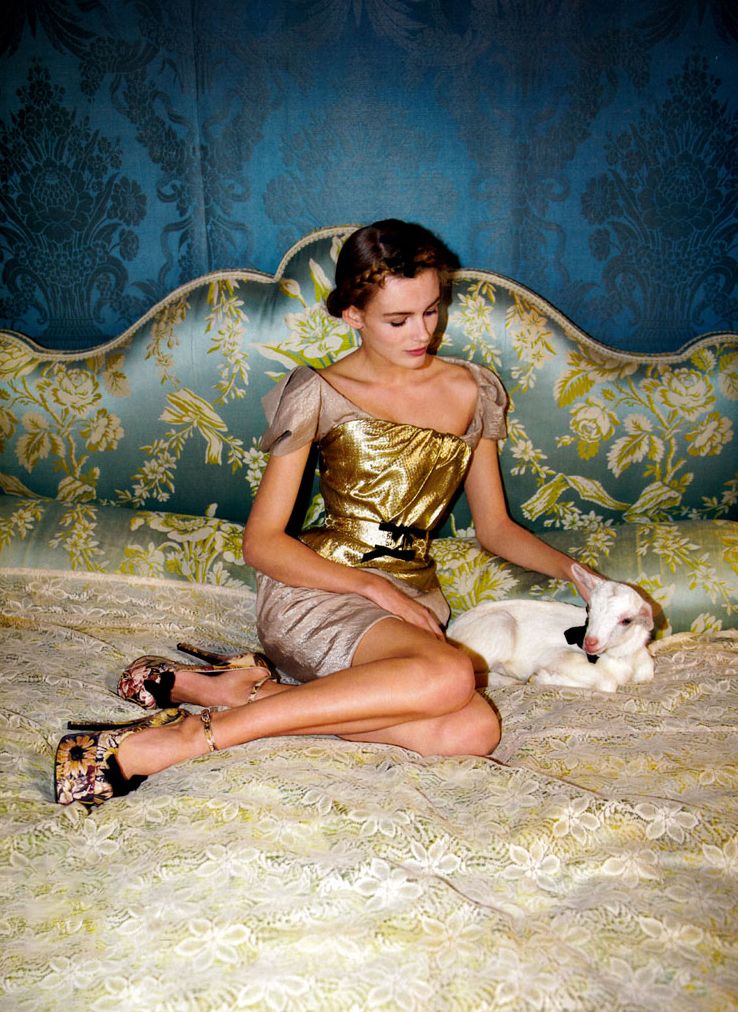 via fashioned by love | Edita Vilkeviciute in Vogue China January 2010 (photography: Walter Pfeiffer, styling: Anastasia Barbieri) | lambs in fashion editorials