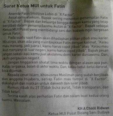 Fatin Shidqia Lubis Dapat Surat Dari Ketua MUI