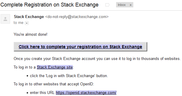 stack exchange email ferification