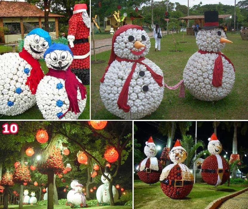Pupazzi di neve realizzati con la casa delle idee - Decorazioni natalizie fai da te per esterno ...