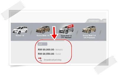 Proton Exora Bold Standard - Kini Dengan Kuasa Turbo! - Harga: RM69,000 (Metalic) RM68,550 (Solid)