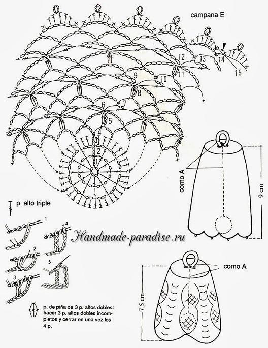 Схема вязания крючком колокольчика