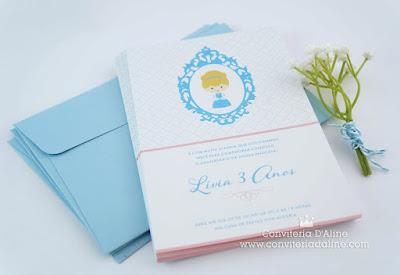convite invitation cinderela