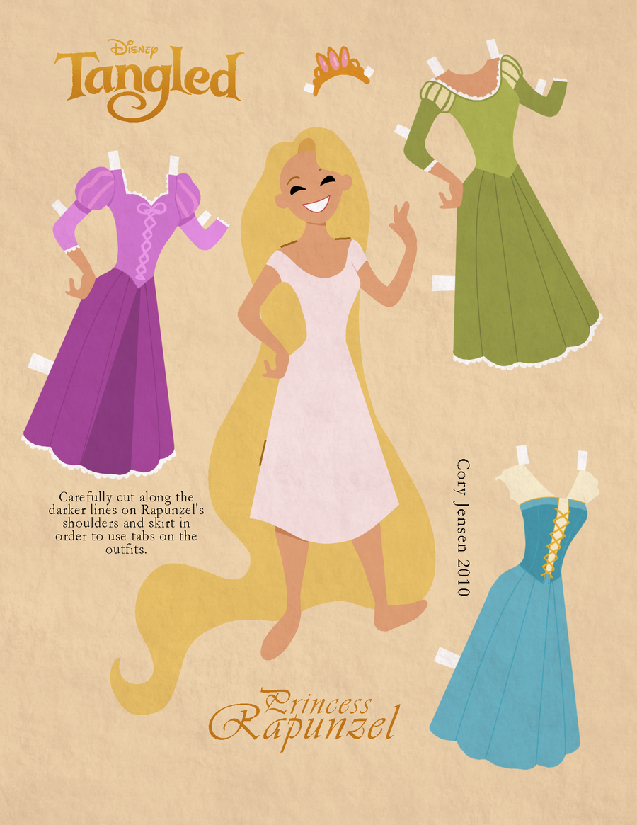 tangled  free printable paper dolls