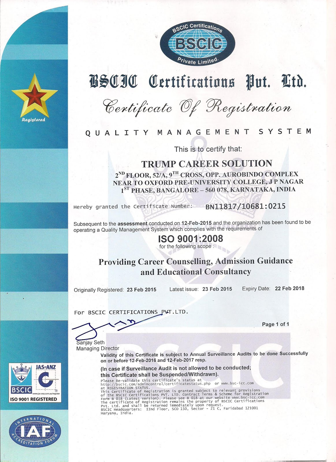 An ISO 9001:2008 Comapny