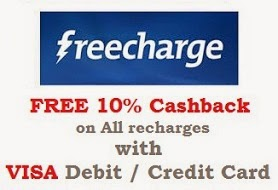 FREE 10% Cashback on All Recharges with Visa Debit & Credit Card @ Freecharge (Valid till 30th April'15 on Desktop & Mobile both)