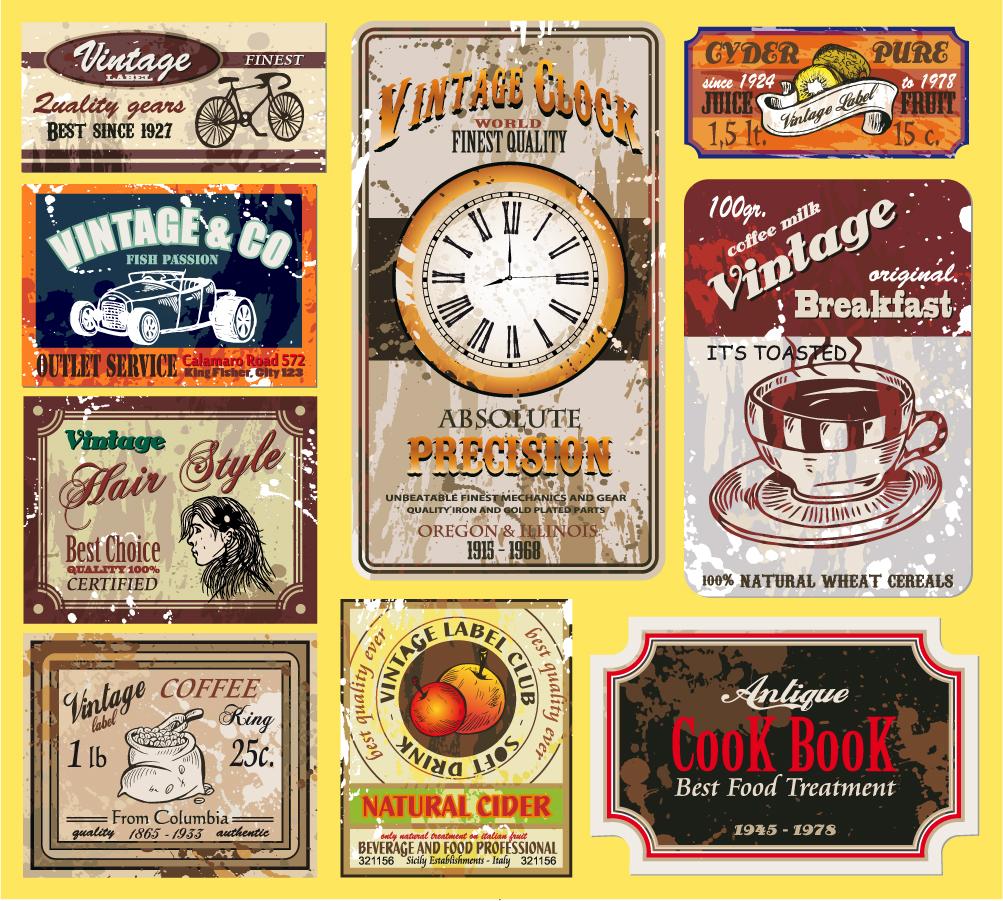 レトロなラベルのデザイン見本 Retro labels design set イラスト素材