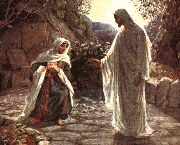 Mary Magdalene recognizes Jesus - artist unknown
