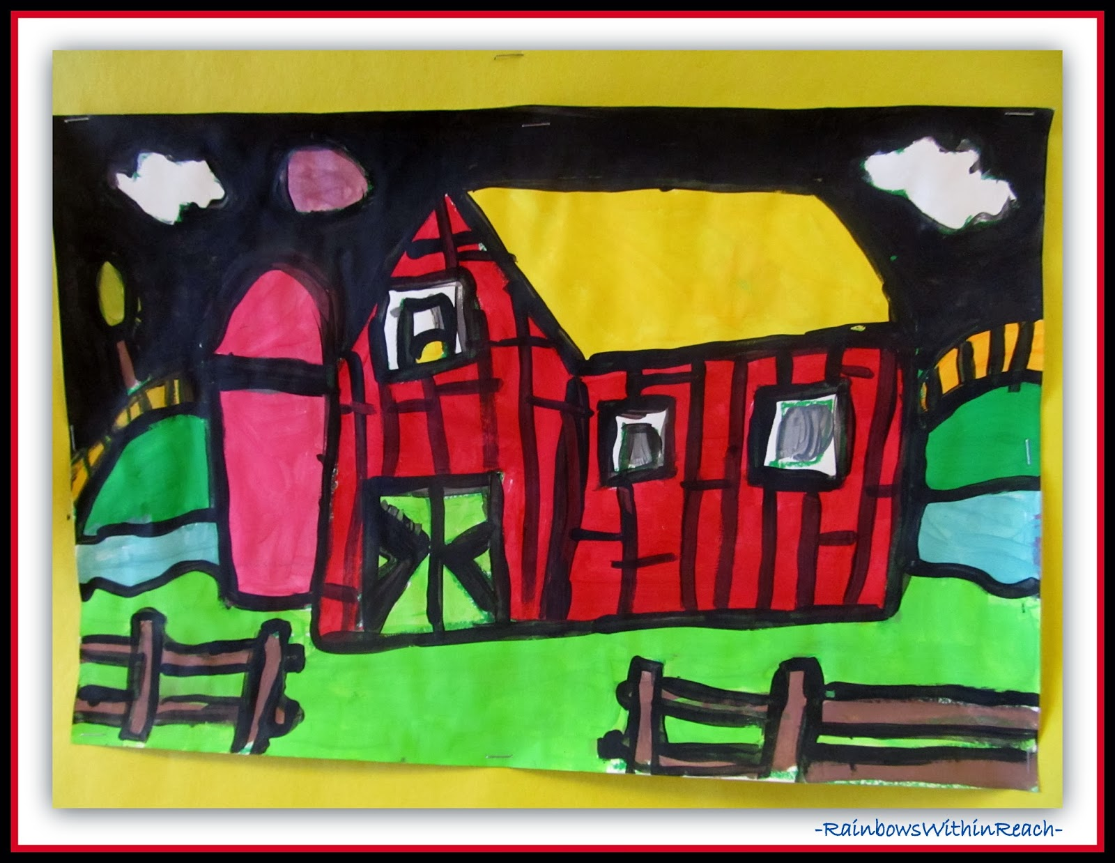 Barn landscape painting: Art History RoundUP at RainbowsWithinReach