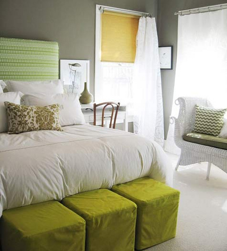 grey and green and white bedroom accessories
