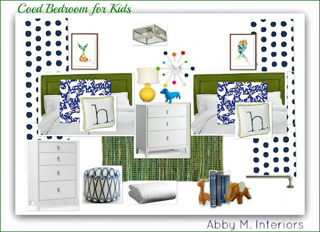 Abby manchesky interiors a coed bedroom the design plan for Coed bedroom ideas