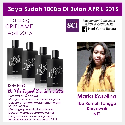 Parfum Wangi Pria Oriflame Terbaru April 2015 - Be The Legend Eau de Tolilette 30468