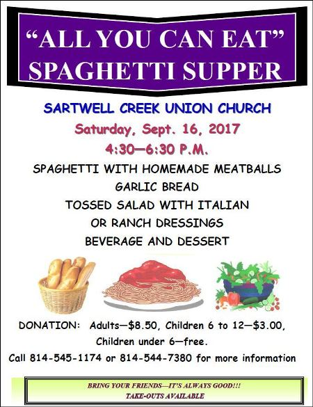 9-16 Spaghetti Supper Sartwell Creek