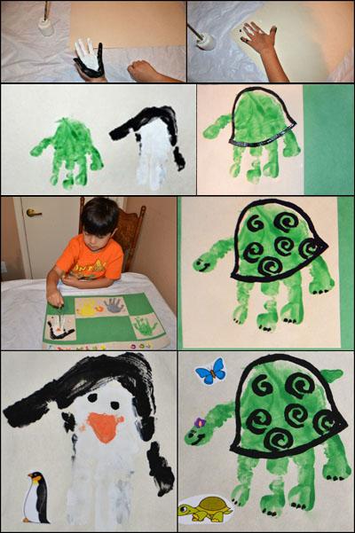 Handprint Turtle & Handprint Penguin