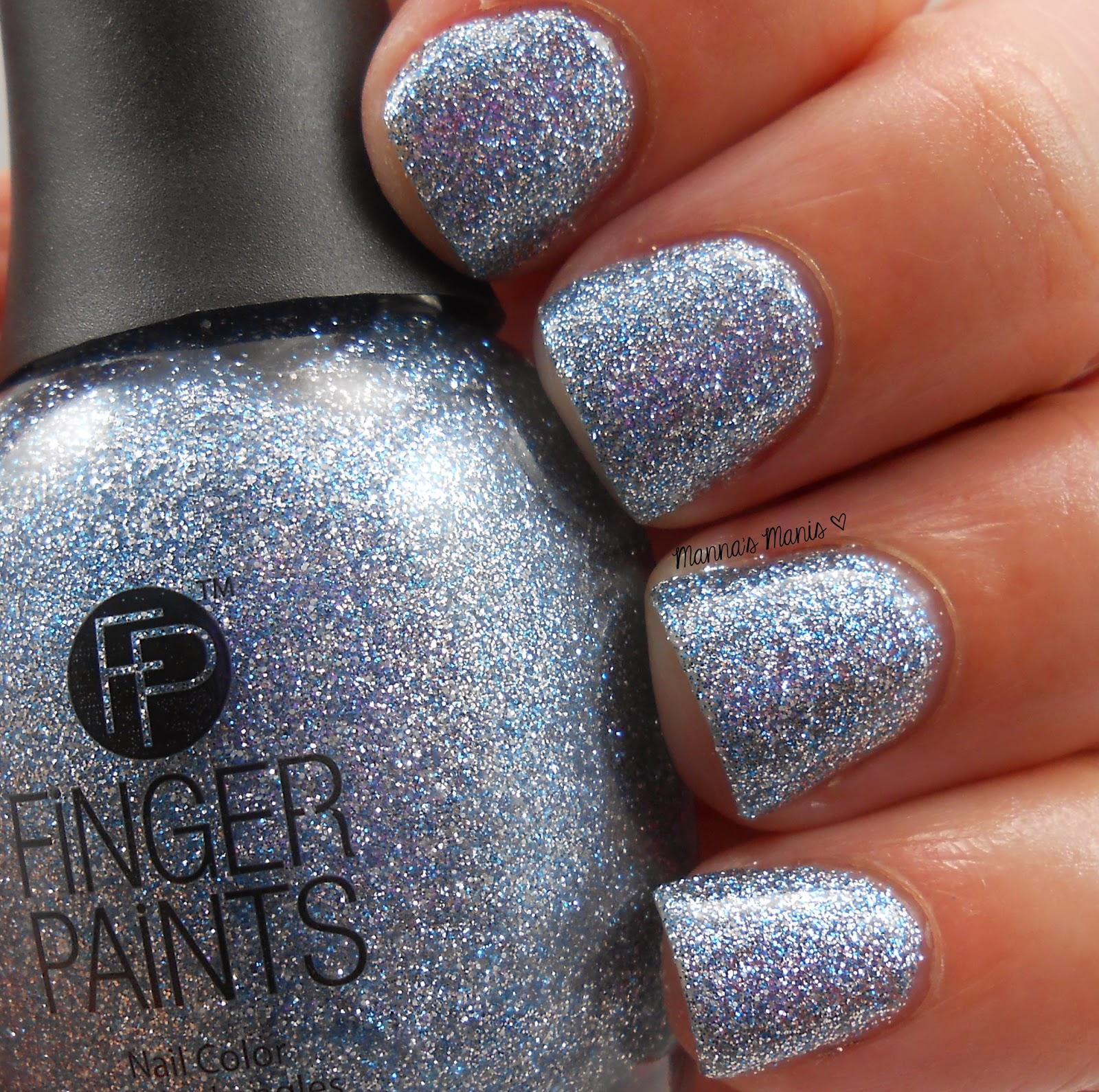 fingerpaints Ho Ho Happy Holidays, a full coverage bluish silver microglitter nail polish