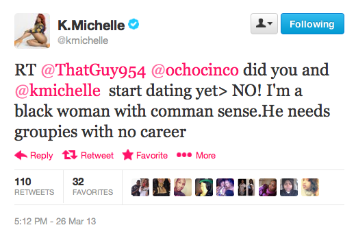 Are KMichelle and Chad OchoCinco Dating with tweets