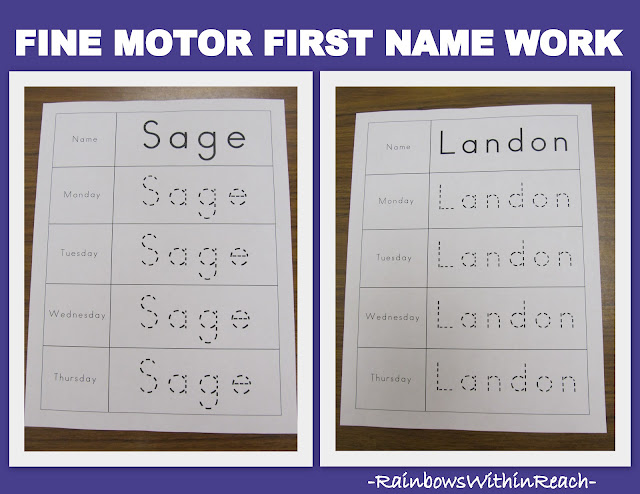 photo of: Fine Motor First Name Work