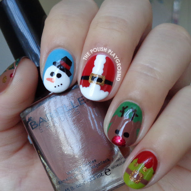 Festive Holiday Christmas Characters Nail Art