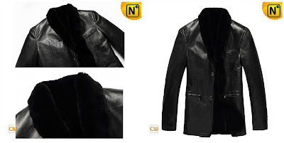 Men Black Fur Lined Sheepskin Coat