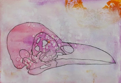 Whoopidooings:Carmen Wing - Mixed Media Portrait #100Facesin365 #Face Bird Crow Skull