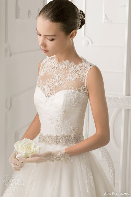 2016 wedding dresses and trends aire barcelona vintage for Wedding dress with illusion top