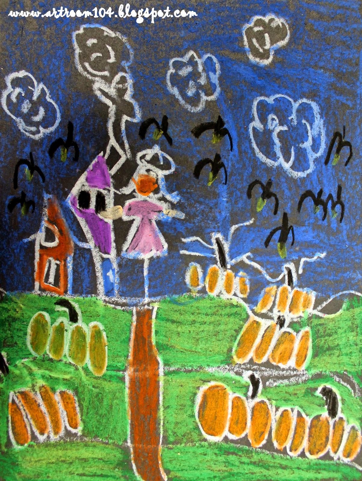 Art Room 104: 1st Grade Oil Pastel Pumpkin Patch Drawings
