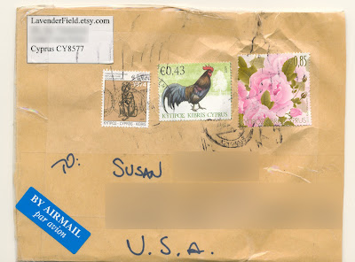 package from Cyprus w/ beautiful stamps