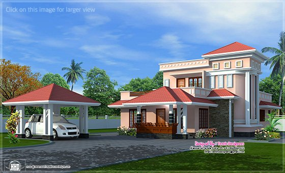 House Exterior With Separate Car Porch Kerala Home