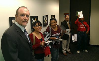 Robert D. Skeels and LAUSD Adult Ed Students at UTLA the night of his endorsement