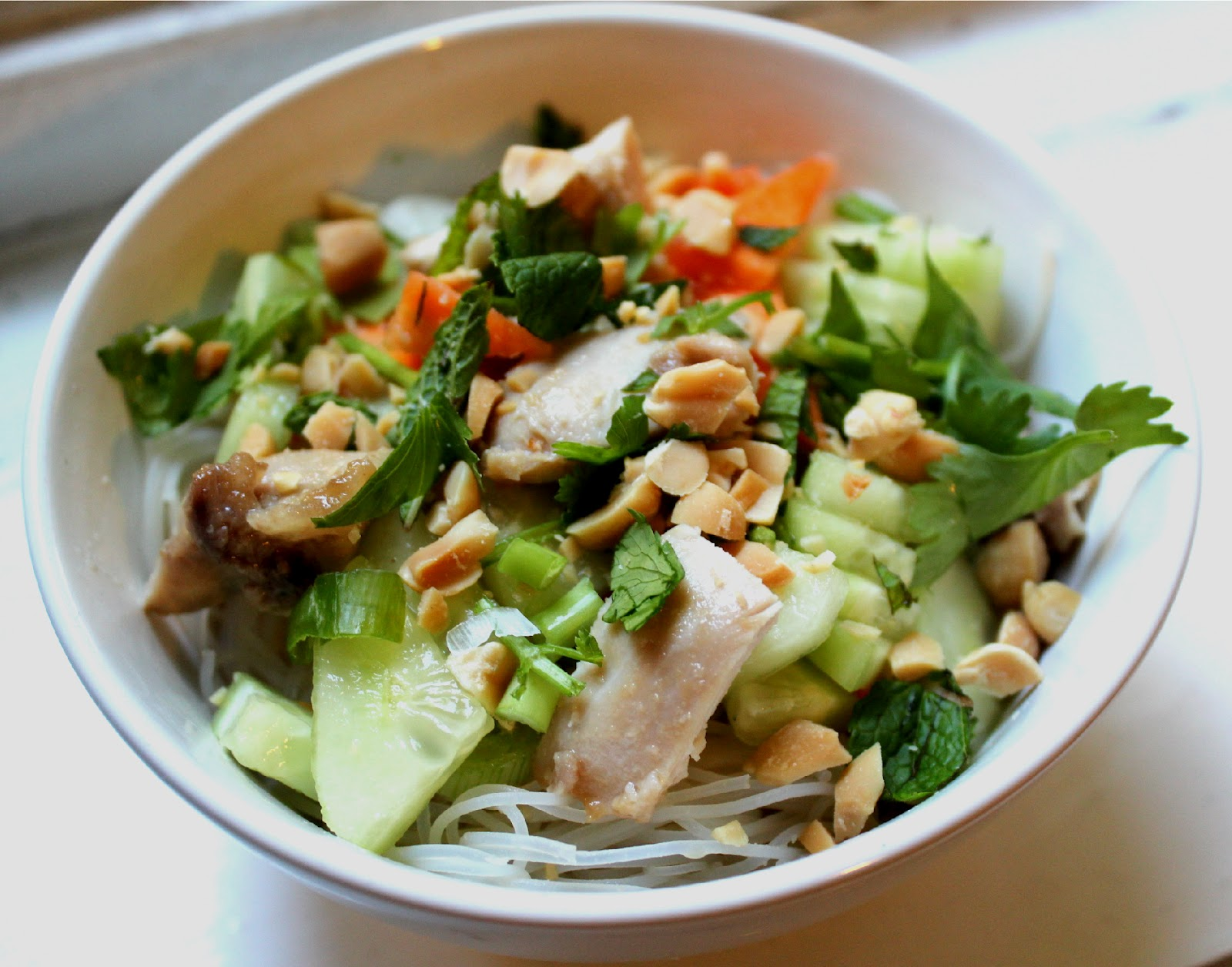 Nuts about food: Thai cold rice noodle salad with chicken ...