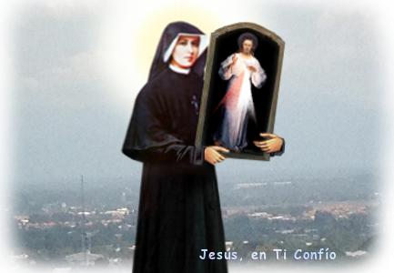 imagen santa Faustina con el cuadro de Jesus misericordioso