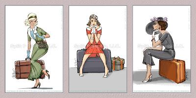 couture retro vintage dessins, femmes