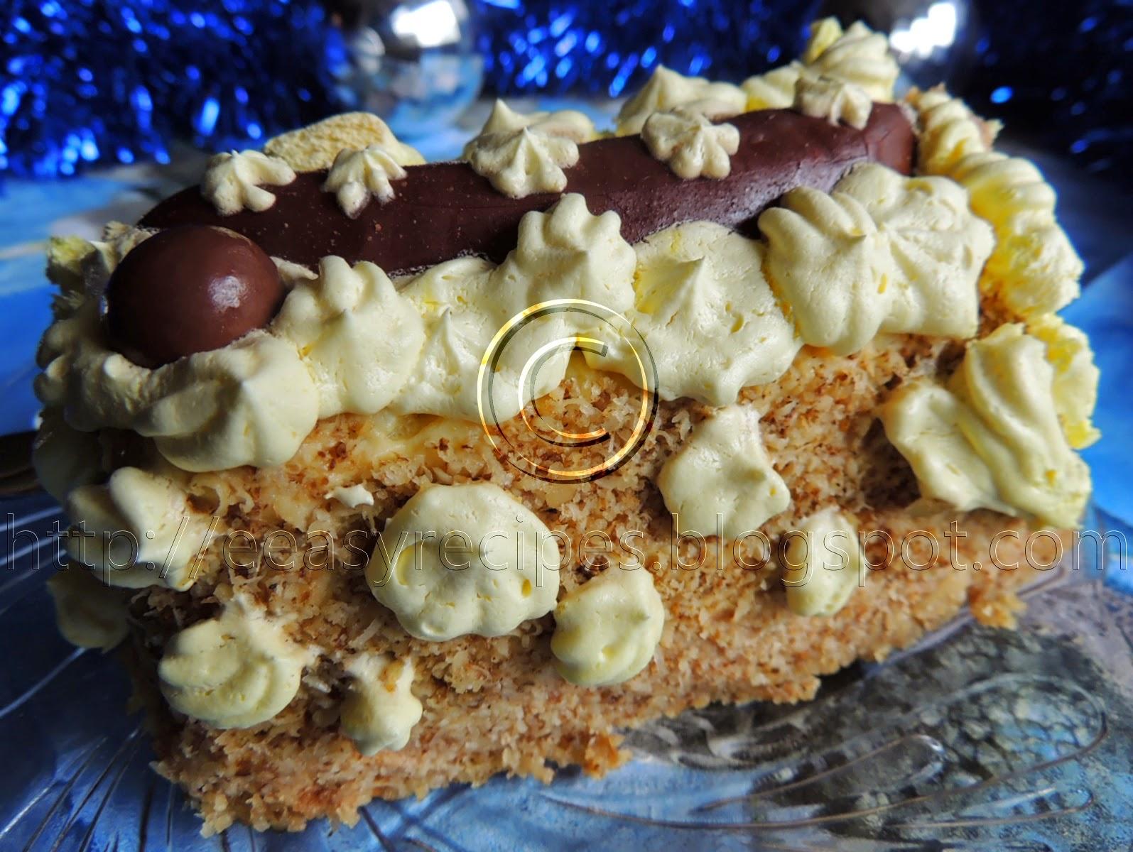 Unbaked cake with ladyfingers