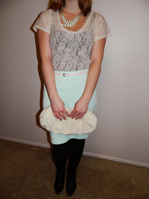 What goes with a mint skirt mint bubble necklace Jcrew lace shirt