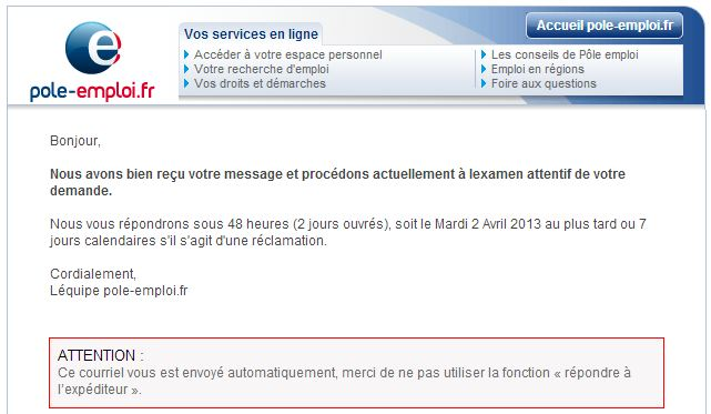 exemple mail conseiller pole emploi