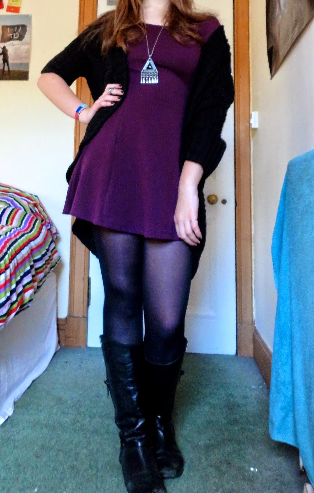 outfit of purple dress, black woollen cardigan & boots