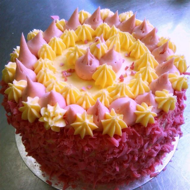 pink and yellow Lemon Butter Cream Cake