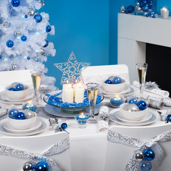 Blue, White, and Silver New Year's Eve Chair Covers by Minimalisti