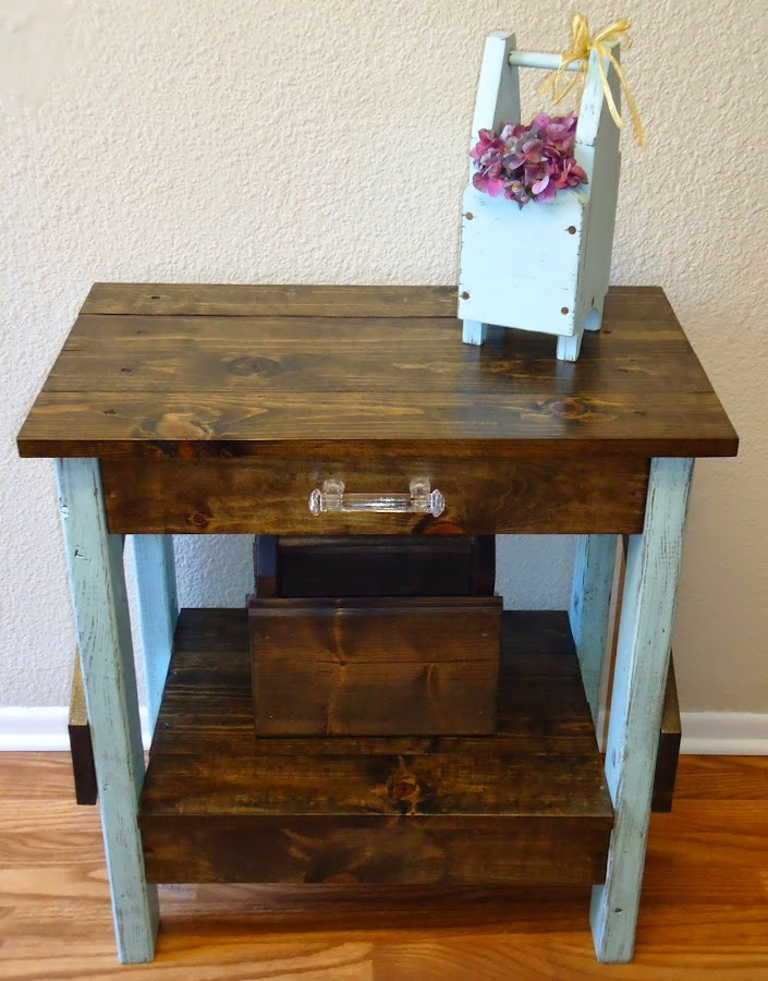 Distressed Side/Entry Table with Glass Hardware - Available $135.00