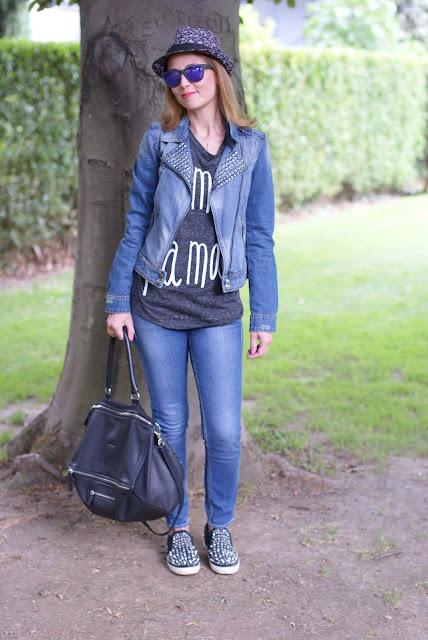 Zara studded denim jacket, Givenchy Pandora bag, Ash soul sneakers, Fashion and Cookies