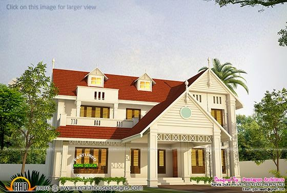 1188 square feet mixed roof house for Pentagon house plans